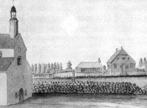 Baznīca ar koka torni un mācītājmuiža pirms 1800.gada