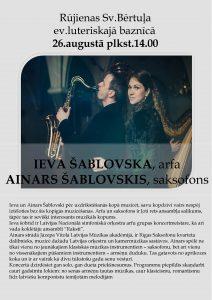 Ievas Šablovskas(arfa) un Ainara Šablovska (saksofons) koncerts 26.augustā plkst.14.00