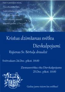 Dievkalpojumi Ziemassvētkos